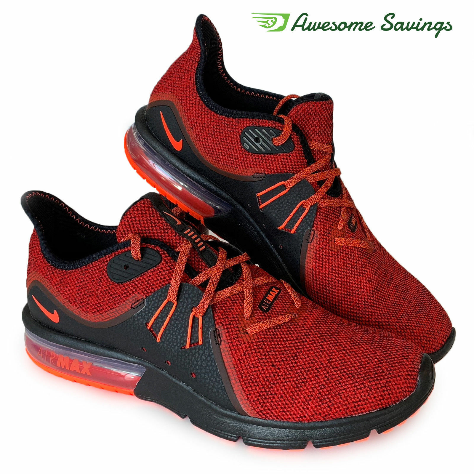 quality design 08979 ad7c5 Nike Air Max Sequent 3 3 3 Men s Size 11.5 Running 921694-066 Red Black