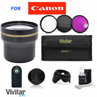 Hd 3.7x Telephoto Zoom + Accessorie For Canon Rebel Xt T3 T3i T4 T5i W/18-55 Kit