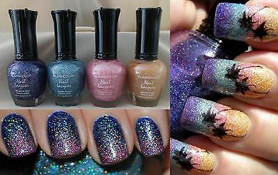 4 New PCS Kleancolor HOLOGRAPHIC Nail Polish Colors