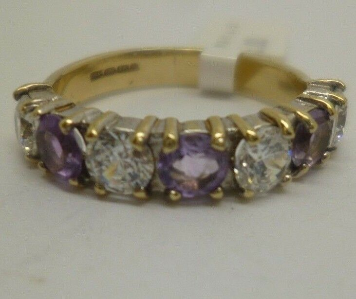9ct yellow gold synthetic diamond and purple stone half eternity ring, size M