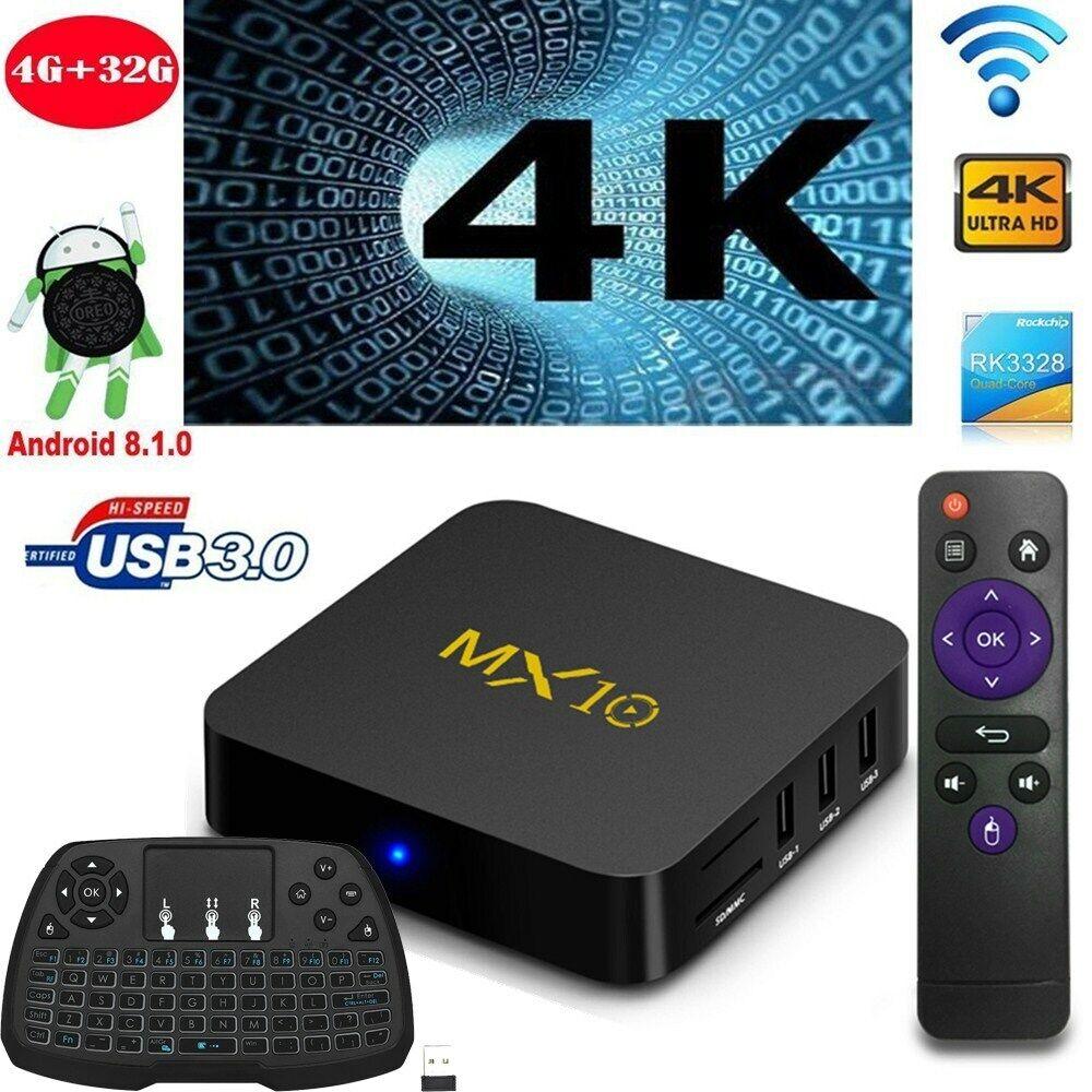 MX10 4+32GB VP9 Android 8.1 RK3328 Quad Core 4K Smart TV BOX Mini PC Media