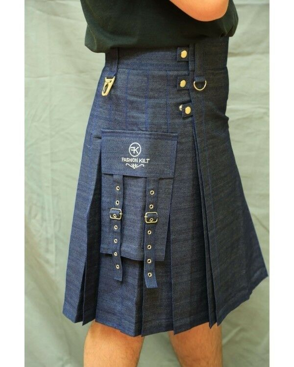 Fashion Utility Denim Kilt by Scottish Kilt   Made To Measure