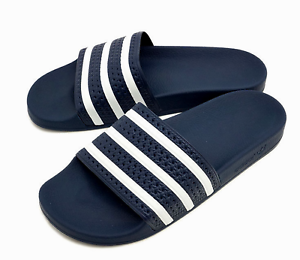 addfe113d3204 adidas Adilette Mens UK 9 EU 43 Navy Blue   White Slides Sliders ...