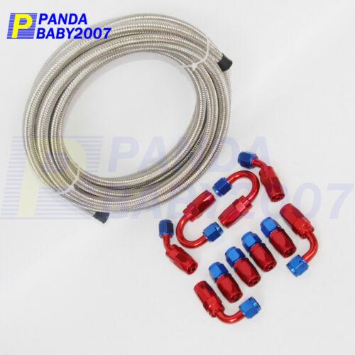 AN4 4AN 4 STEEL BRAIDED FUEL HOSE END OIL GAS LINE FITTING ADAPTOR KIT 5M SL
