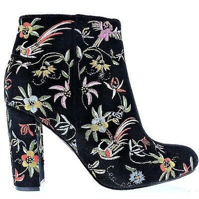 Kenzy-4A Ankle High Stitched Embroidered Faux Suede Block Heel Bootie Boot Black