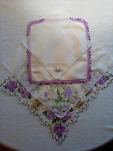 VINTAGE-HANDKERCHIEFS-LOT-OF-4-COLORS-OF-LAVENDER-WITH-MULTI-COLORED-ACCENTS