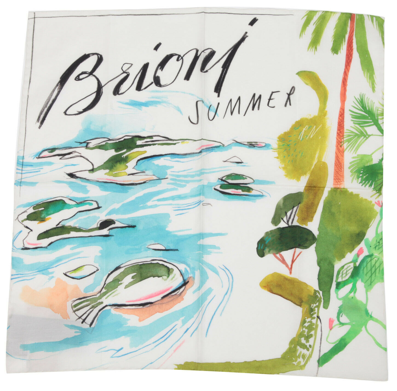 BRIONI Summer Pocket Square Handkerchief Cloth Cotton & Silk foularino 50x50
