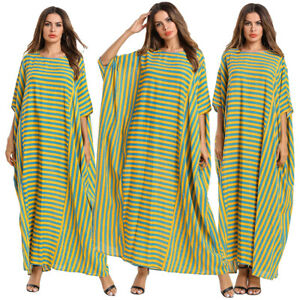 Ramadan-Stripe-Muslim-Casual-Women-Bat-Sleeve-Long-Maxi-Dress-Robe-Abaya-Jilbab