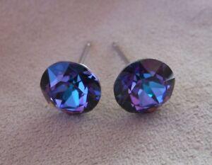HYPOALLERGENIC-Earrings-Swarovski-Elements-Crystal-in-Heliotrope-Color-8-mm