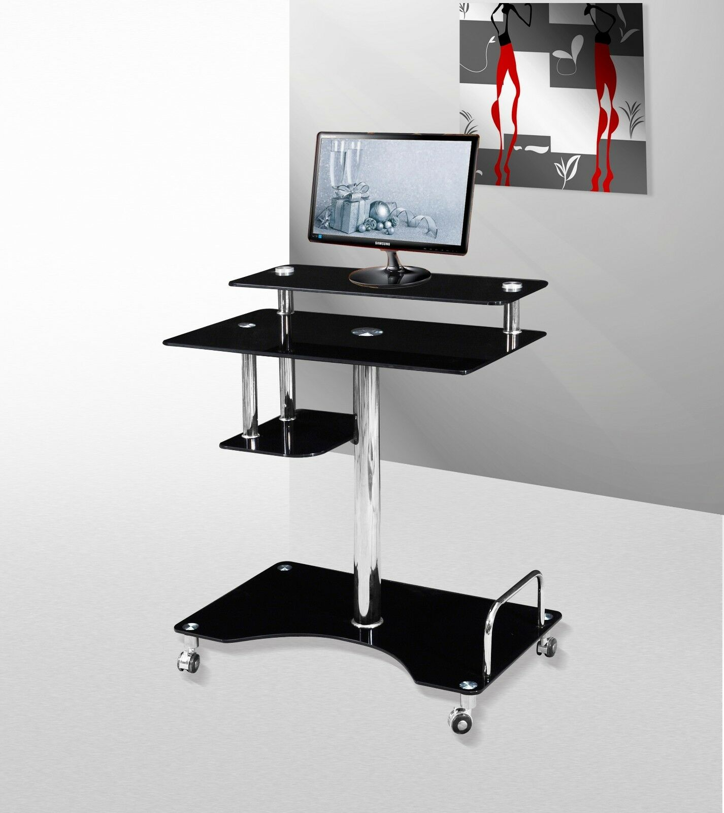 Roley Black Clear Glass Computer Laptop Pc Desk Solid Made Premium Quality