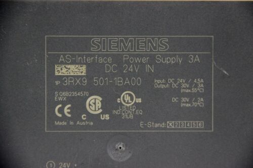 AS-Interface Power Supply In 24VDC Out 30VDC 3A 3RX9501-1BA00 SIEMENS