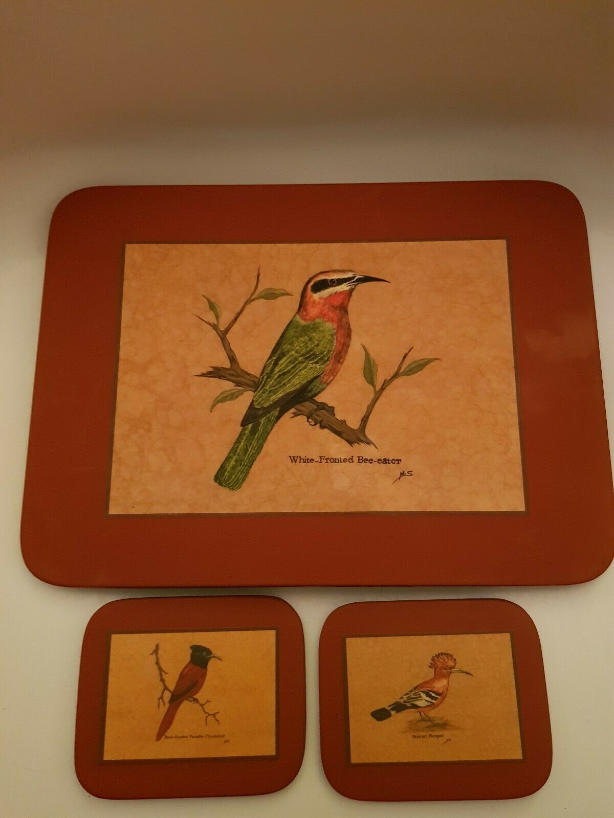 Vintage Wild Birds Set Set Set Of 4 Coasters and 4 Placemats Signed M.S 96f769