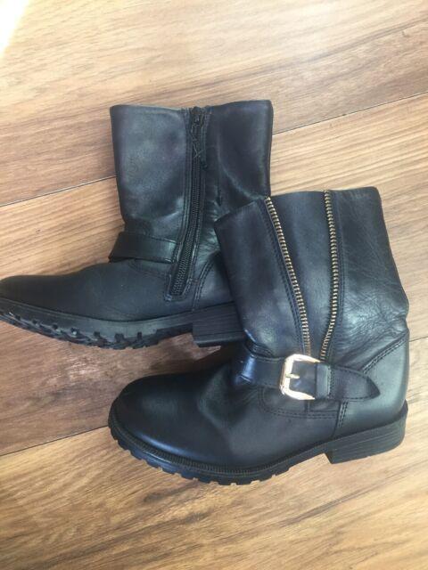 Girls UK Size 13 Black Leather BOOTS