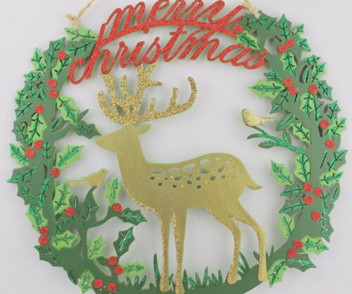Gisela Graham Luxury Cut Out Wood Decorations with Deer