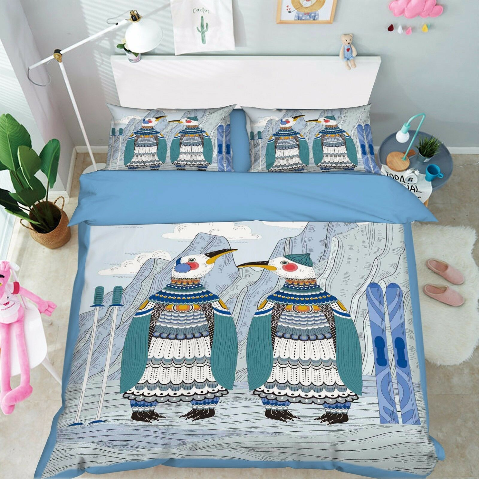 3D Ethnic Style Penguin 52 Bed Pillowcases Quilt Duvet Cover Set Single Queen CA