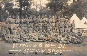 RPPC Karte Foto Militaria 31e Compagnie Infanterie 3e Compagnie 1922