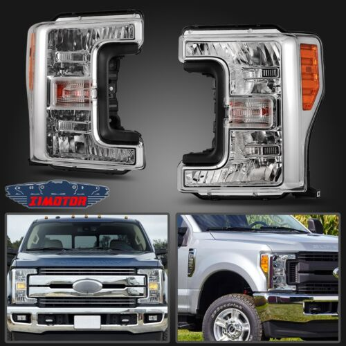 Fit 17-20 Ford Super Duty Aftermarket Replacement Headlights Headlamps Clear Len