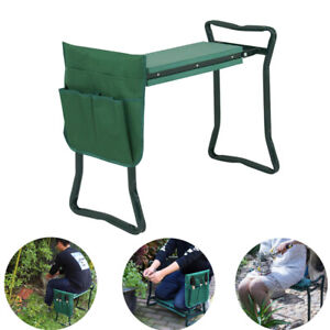 Garden-Seat-Bench-and-Kneeler-Foldable-Stool-Pad-w-Tool-Pouch-Sturdy-Cushion