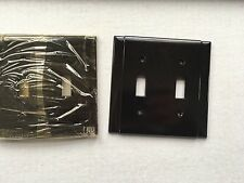 NEW OLD STOCK Vintage Bakelite Dark Brown Double Switch Plate Cover Columned