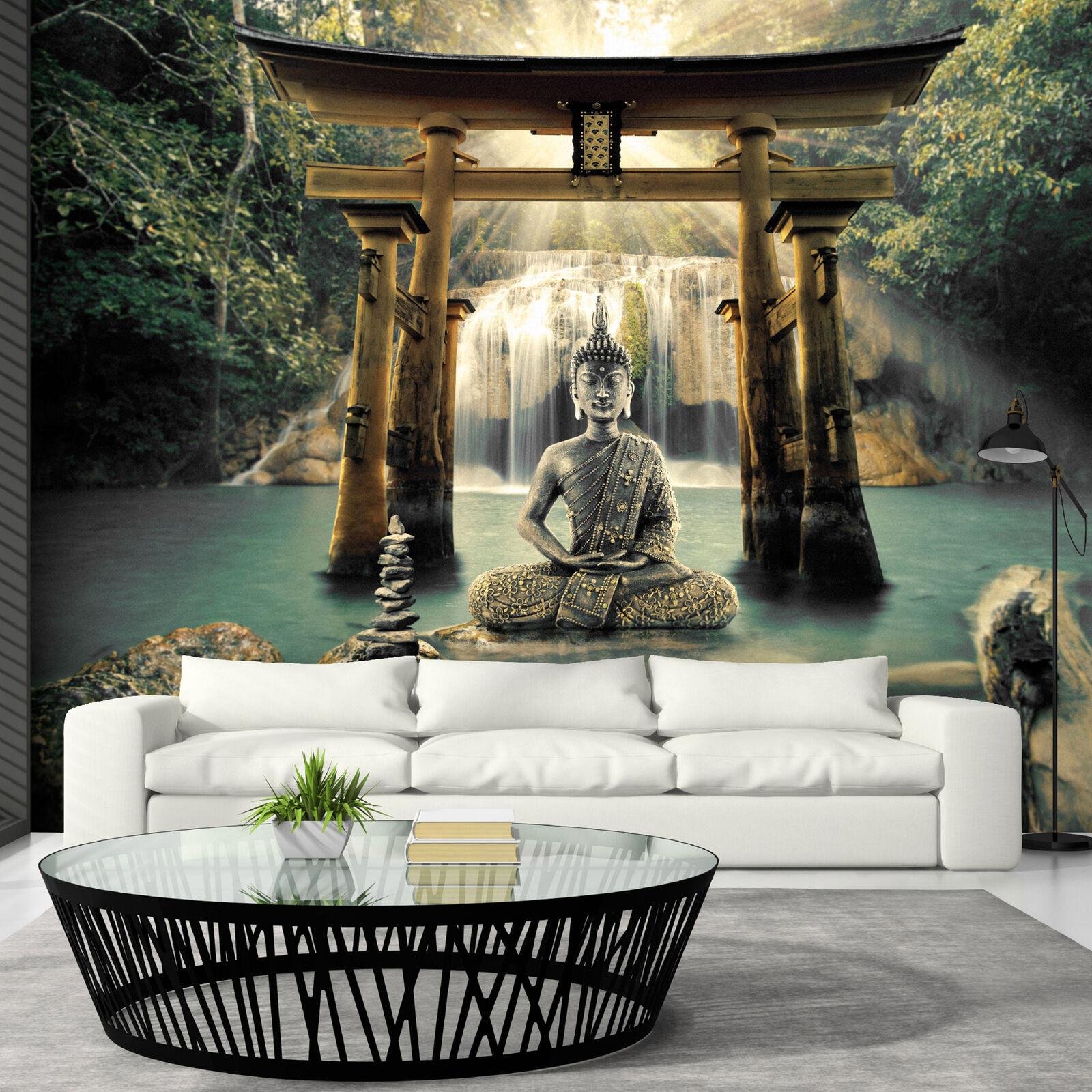 Vlies Fototapete Buddha Wasserfall Tapete Wandbilder xxl 3 Farben p-A-0033-a-b