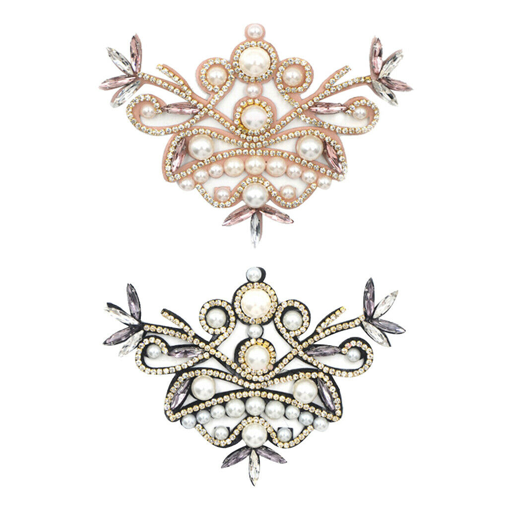 2 Pieces Crystal Shoes Clip With Shiny Imitation Pearls Decorative Charms For
