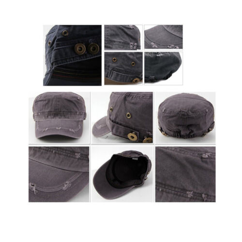 Unisex Mens Casual Faded Washed out Army Military Cap Cadet Soldier Hats Khaki