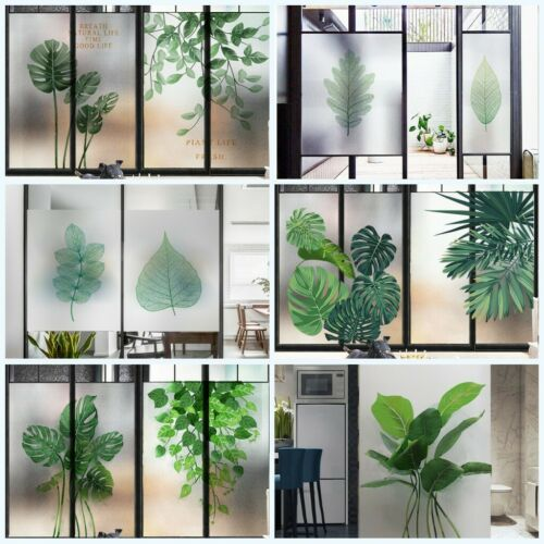 Home Window Film Green Plants Frosted Glass Sticker Privacy Protect Home Decor