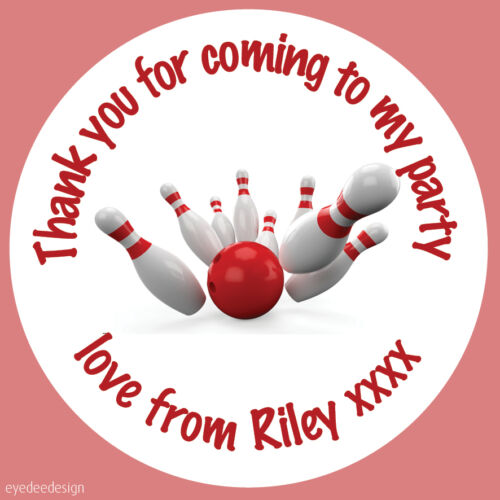 425 Personalised Bowling Ball Birthday Stickers Party Thank You Sweet cone