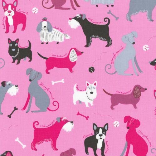 Fabric Dogs Classy Canines on Pink Cotton by the 1//4 yard BIN