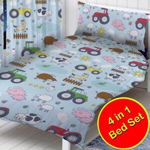 Ferme-Animaux-Tracteurs-Bebe-Junior-4-IN-1-Literie-Bundle-Jeu-Enfants