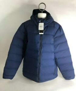 Adidas-Mens-Size-L-Navy-Blue-Helionic-Ho-Down-Hooded-Zip-Up-Puffer-Jacket