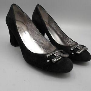 AK-Anne-Klein-Iflex-Fannon-Black-Leather-Suede-Womens-2-5-034-Heel-Shoes-Size-6-5-M