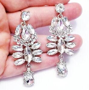 Clear-Chandelier-Drop-Earrings-Rhinestone-Crystal-2-6-in