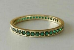 2ct-Round-Cut-Green-Emerald-Wedding-Band-Full-Eternity-Ring-18k-Yellow-Gold-GP