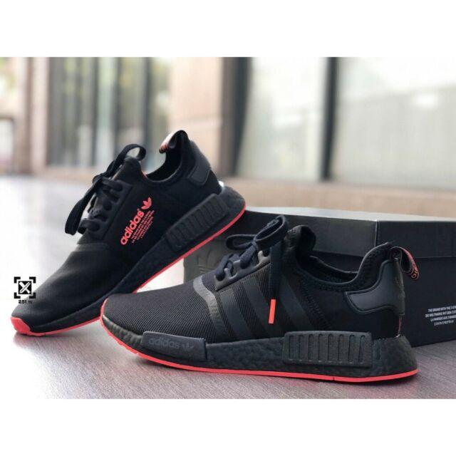 Adidas NMD R1 Mesh Core Black Solar Red Running F35881 Men's Size 8-13 New 2019