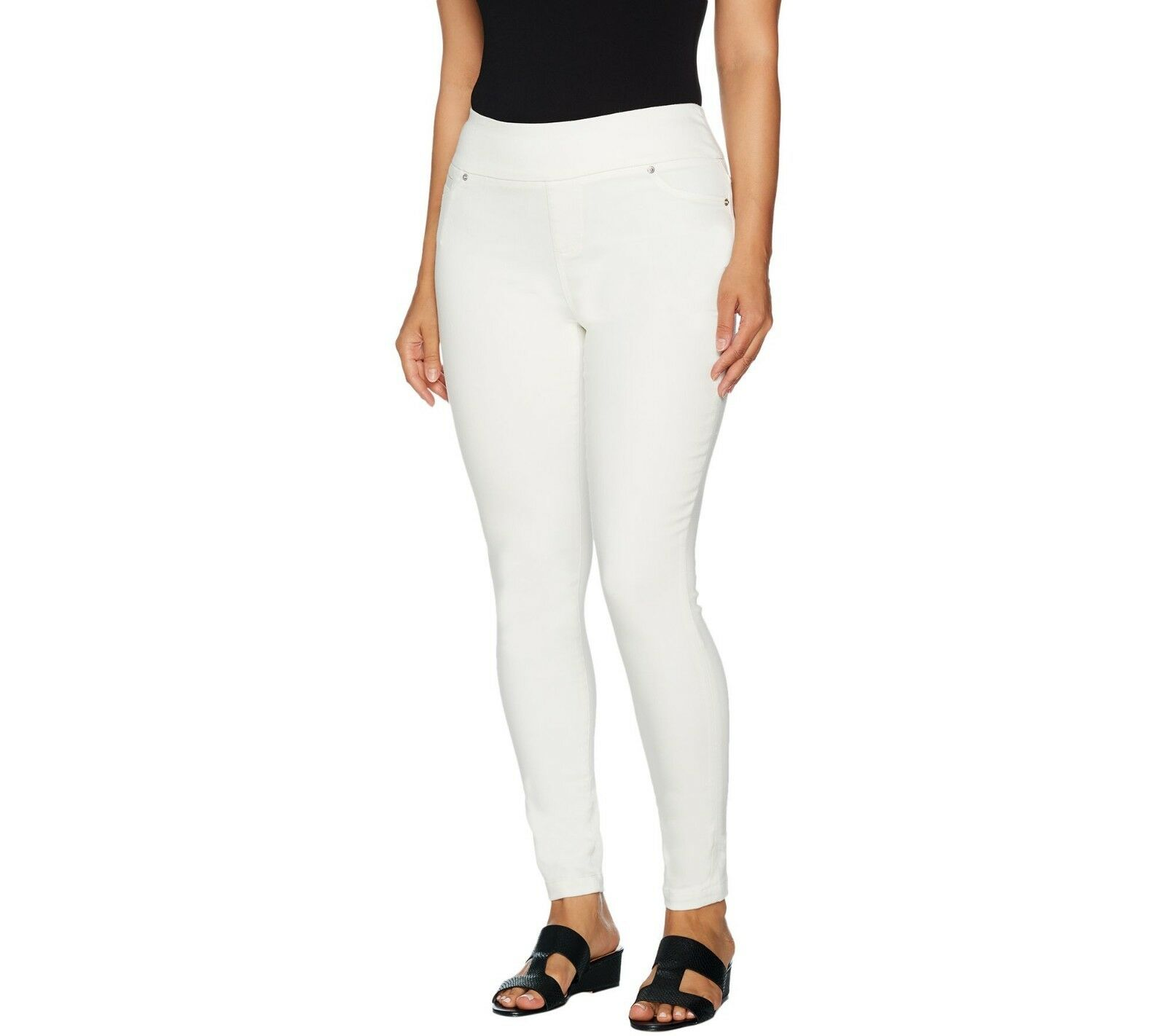 Lisa Rinna Collection Regular Pull-On Skinny Ankle Jeans White Small Size QVC