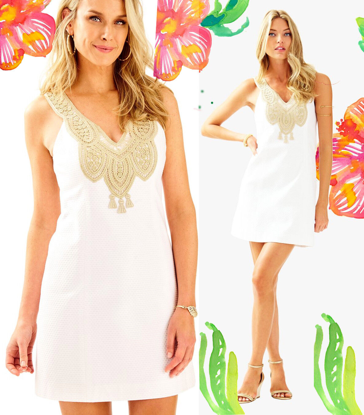 Lilly Pulitzer Largo Resort White gold Lace Embroidered Shift Dress