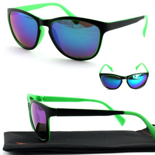 Damen Sonnenbrille Cat Eye Schwarz Grün Blau Bi Color Verspiegelt Viper Cat V