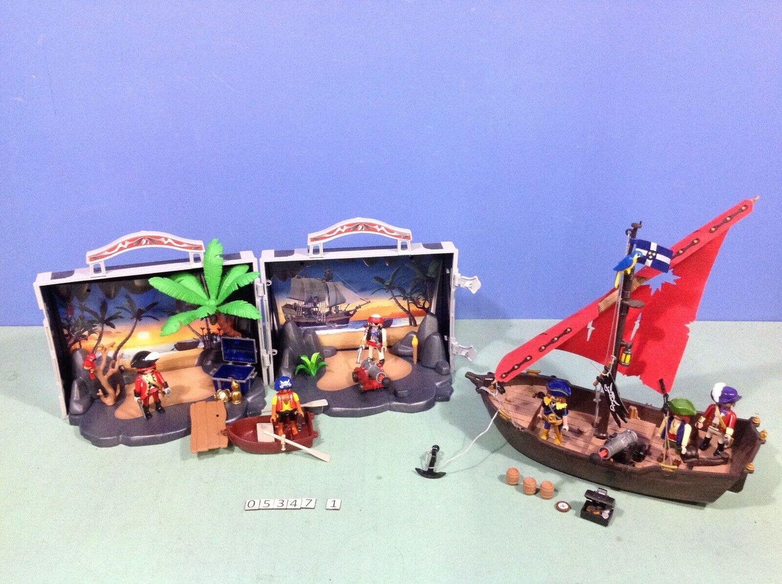 (O5347.1) playmobil Coffret pirates transportable ref 5347 + bateau ref 4444