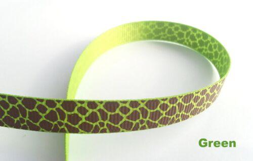 """9mm 3//8 /""""Girafe Spot Motif Grosgrain ruban Artisanat Scrapbooking nœud pour cheveu"""