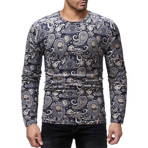 Men-Tribal-Print-Long-Sleeve-Shirt-Casual-Round-Neck-African-Blouse-Top-Slim-Fit