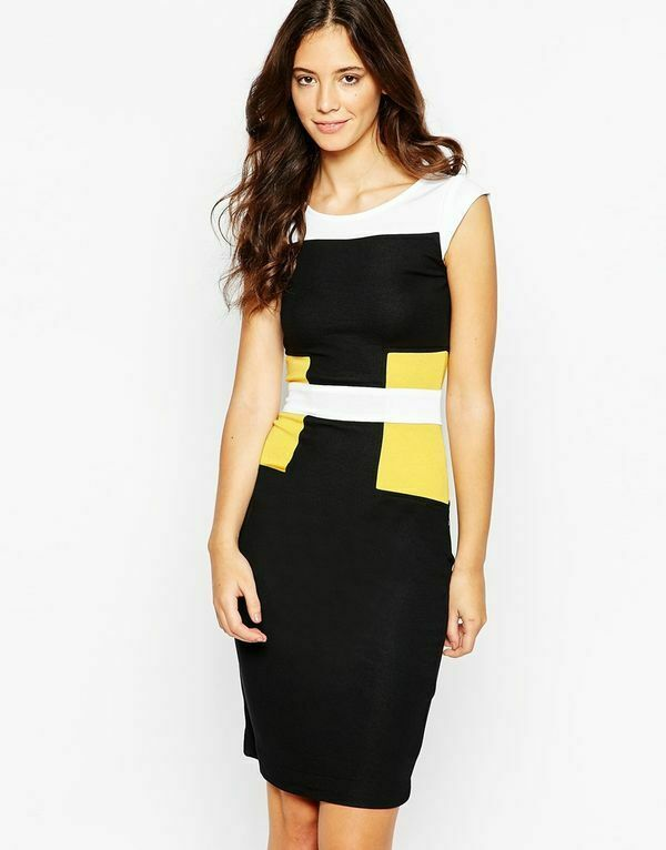 French Connection Colour block Manhattan DRESS schwarz Gelb FCUK uk16 US12 bnwt