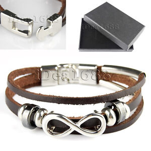 Men-Ladies-Unisex-Real-Genuine-Leather-Braided-Bracelet-Wrap-Wristband-Brown-UK