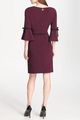 Tommy Hilfiger NWT Elegant AUBERGINE Crepe Bell Sleeve Black trim accent Dress
