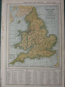 1926 MAP ~ ENGLAND & WALES COUNTIES PRINCIPAL CITIES & TOWNS YORK SHROPSHIRE