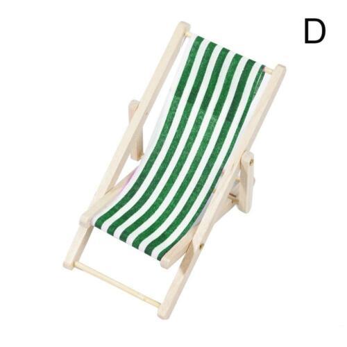 Mini Dollhouse Miniature Garden Beach Furniture Folding Deck Blue Chairs St Y0V7