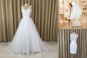 Image Is Loading Detachable Train Skirt Illusion Lace Back Wedding Dresses