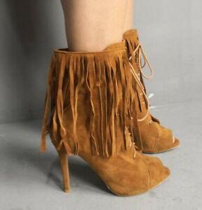 Camel suede Tassel Fringe Ankle Boots Shoes Peep toe Lace Stiletto Size