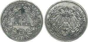 Empire 1/2 Mark Silver 1918 G Prfr St, Blackened (2)