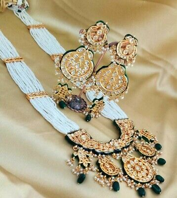 South Indian Bollywood Mehroon Crystal Raani Haar Necklace Earring Set Jewellery